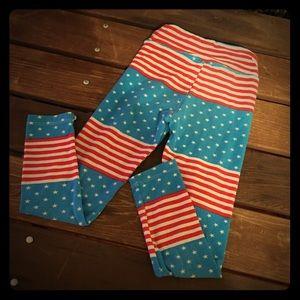 American Flag little girl LuLaRoe leggings soft!